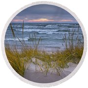 Beach By Holland Michigan No 0192 Round Beach Towel