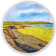 Beach Cliffs South Of San Onofre Round Beach Towel