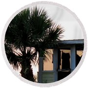 Beach Cottage Clothesline Round Beach Towel