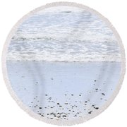 Beach Detail On Pacific Ocean Coast Round Beach Towel