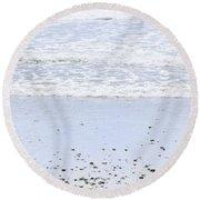Beach Detail On Pacific Ocean Coast Round Beach Towel