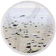 Beach Detail On Pacific Ocean Coast Of Canada Round Beach Towel