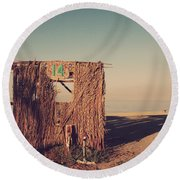 Beach Hut Number Fourteen Round Beach Towel by Laurie Search