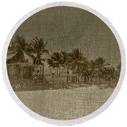 Beach Huts In A Tropical Paradise Round Beach Towel