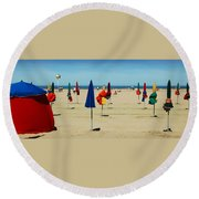Beach In Deauville Round Beach Towel