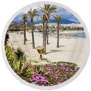 Beach In Puerto Banus Round Beach Towel