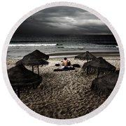 Beach Minstrel Round Beach Towel by Carlos Caetano