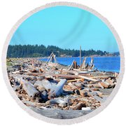 Beach Of Logs Round Beach Towel
