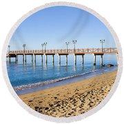 Beach Pier In Marbella Round Beach Towel