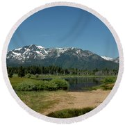Beach Reflections At Mt Tallac Round Beach Towel