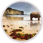 Beach Rhino Round Beach Towel