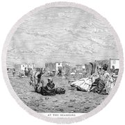 Beach Scene, 19th Century Round Beach Towel