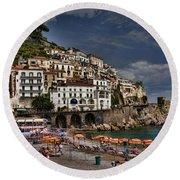 Beach Scene In Amalfi On The Amalfi Coast In Italy Round Beach Towel