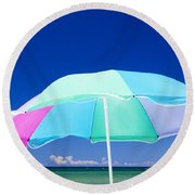 Beach Umbrella At The Shore Round Beach Towel