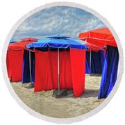 Beach Umbrellas Nice France Round Beach Towel
