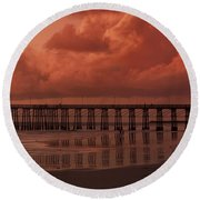 Beachcombing At Oceanside Pier Round Beach Towel