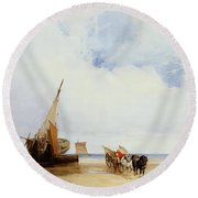 Beached Vessels And A Wagon Near Trouville Round Beach Towel