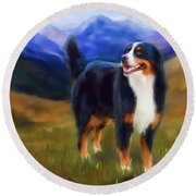 Bear - Bernese Mountain Dog Round Beach Towel by Michelle Wrighton