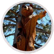 Bear Look Out Round Beach Towel