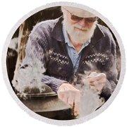 Bearded Miner Making Billy Tea Round Beach Towel