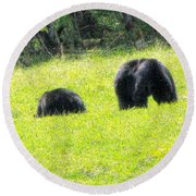 Bears In A Peaceful Meadow1 Round Beach Towel