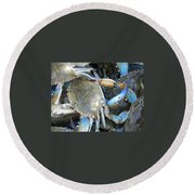Beaufort Blue Crabs Round Beach Towel