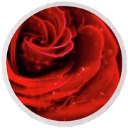 Beautiful Abstract Red Rose Round Beach Towel by Oleksiy Maksymenko