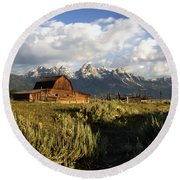 Beautiful Barn Grand Teton  Round Beach Towel