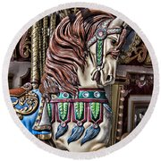 Beautiful Carousel Horse Round Beach Towel