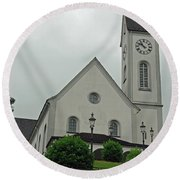 Beautiful Church In The Swiss City Of Lucerne Round Beach Towel