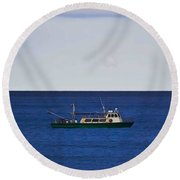 Beautiful Day For Shrimping Round Beach Towel
