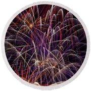 Beautiful Fireworks Round Beach Towel