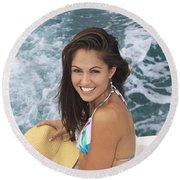 Beautiful Girl Boating Round Beach Towel