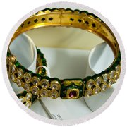 Beautiful Green And Purple Covered Gold Bangles With Semi-precious Stones Inlaid Round Beach Towel