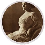 Beautiful Lady In 1880 Round Beach Towel