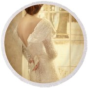 Beautiful Lady In Sequin Gown Looking Out Window Round Beach Towel