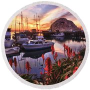 Beautiful Morro Bay Round Beach Towel
