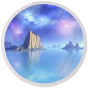 Beautiful Night Scene Of The Ocean Round Beach Towel