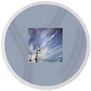 Beautiful Sky This Morning Round Beach Towel by Katie Cupcakes