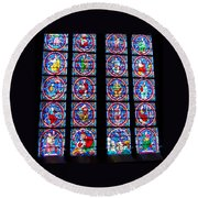 Beautiful Stained Glass At Notre Dame Cathedral Round Beach Towel