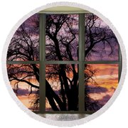 Beautiful Sunset Bay Window View Round Beach Towel