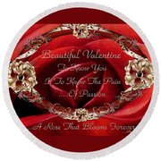 Beautiful Valentine Round Beach Towel