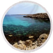 Beautiful View On Mediterranean Sea Cape Gkreko In Cyprus Round Beach Towel