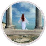 Beautiful Woman In White Round Beach Towel