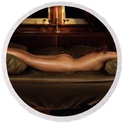Beautiful Woman Sleeping Naked Round Beach Towel
