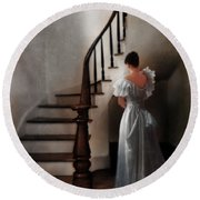 Beautiful Young Woman Standing In Gown By Stairs Round Beach Towel