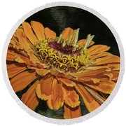 Beauty In Orange Petals Round Beach Towel