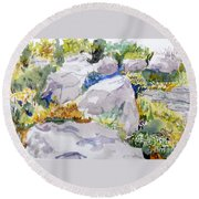 Beauty In The Rocks Round Beach Towel