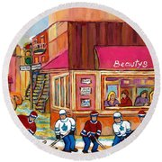 Beauty's Restaurant-montreal Street Scene Painting-hockey Game-hockeyart Round Beach Towel