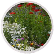 Bed Of Flowers Round Beach Towel